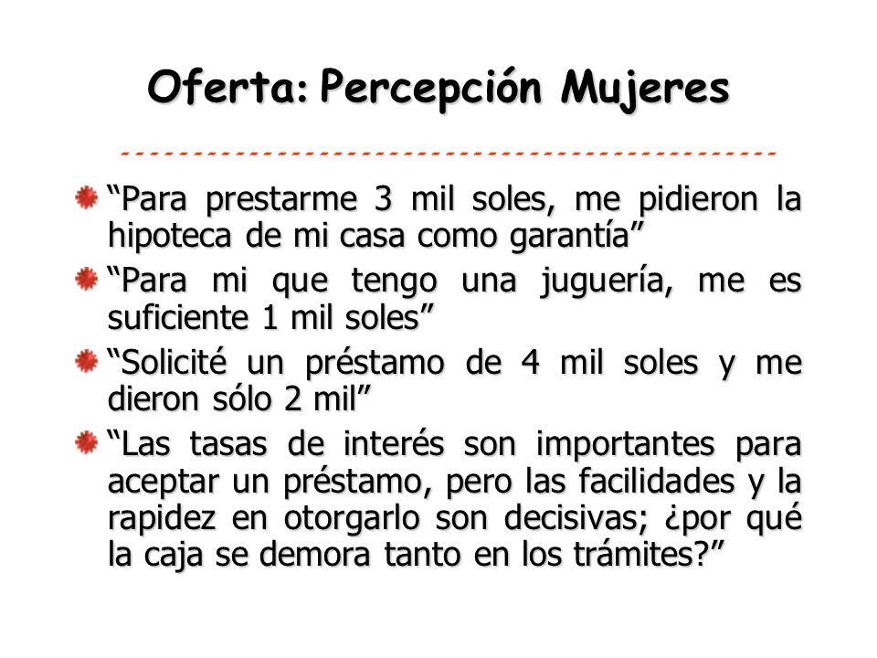 Oferta: Percepción Mujeres