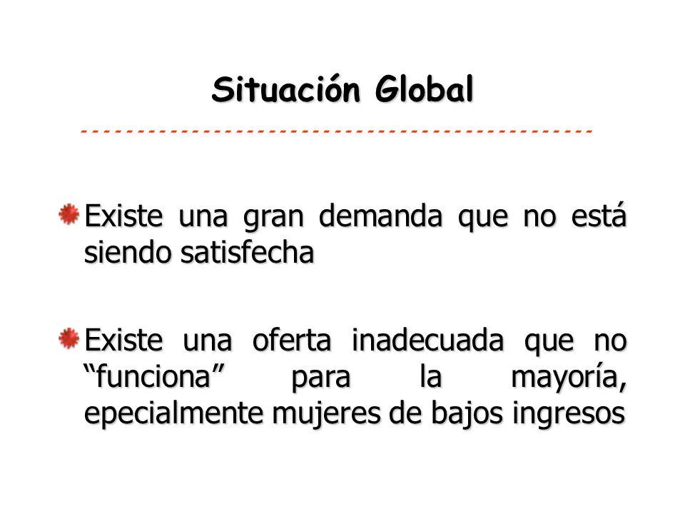 Situación Global Existe una gran demanda que no está siendo satisfecha