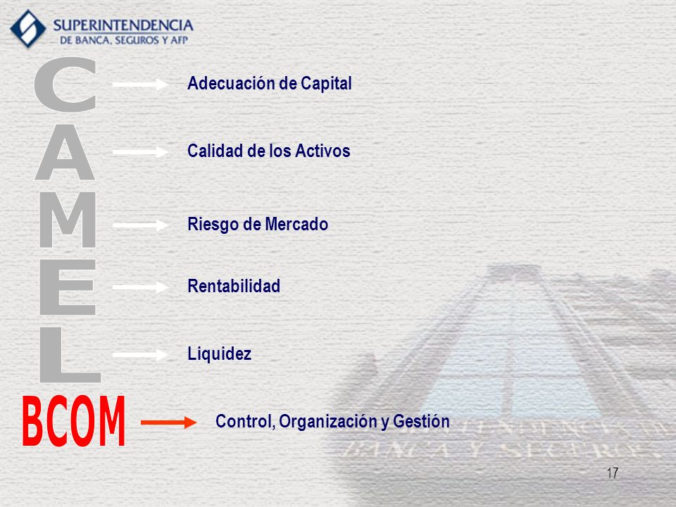 C A M E L BCOM BCOM Adecuación de Capital Calidad de los Activos