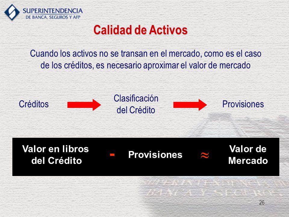 Calidad de Activos Cuando los activos no se transan en el mercado, como es el caso de los créditos, es necesario aproximar el valor de mercado.