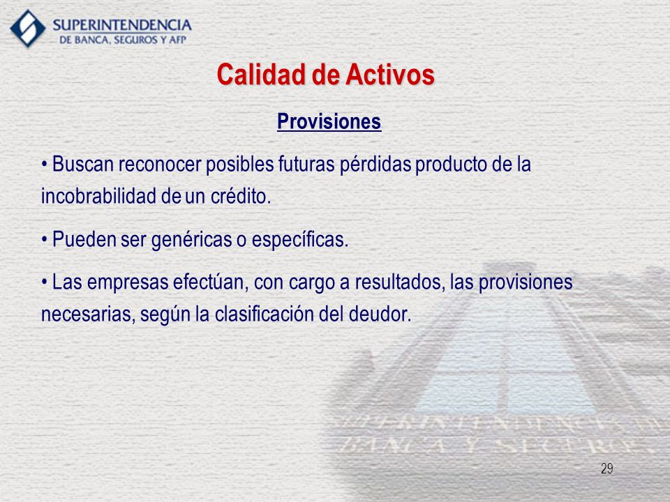 Calidad de Activos Provisiones
