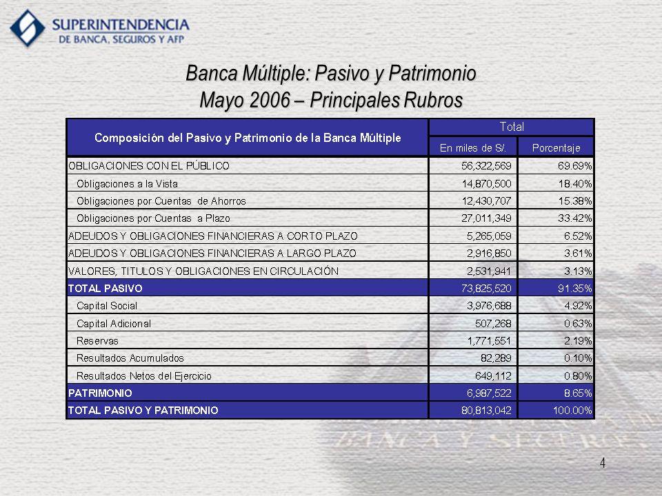 Banca Múltiple: Pasivo y Patrimonio Mayo 2006 – Principales Rubros