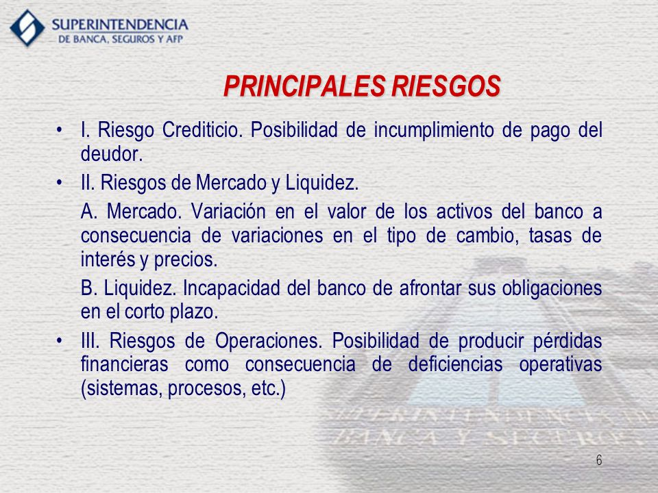 PRINCIPALES RIESGOS I. Riesgo Crediticio. Posibilidad de incumplimiento de pago del deudor. II. Riesgos de Mercado y Liquidez.