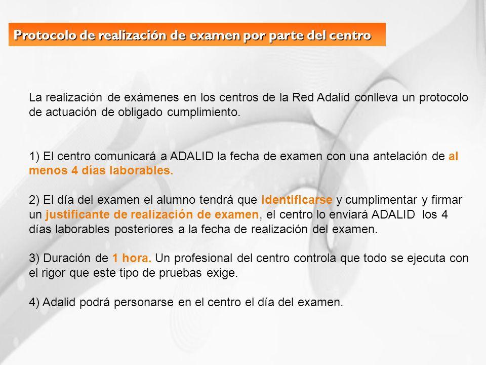Protocolo de realización de examen por parte del centro