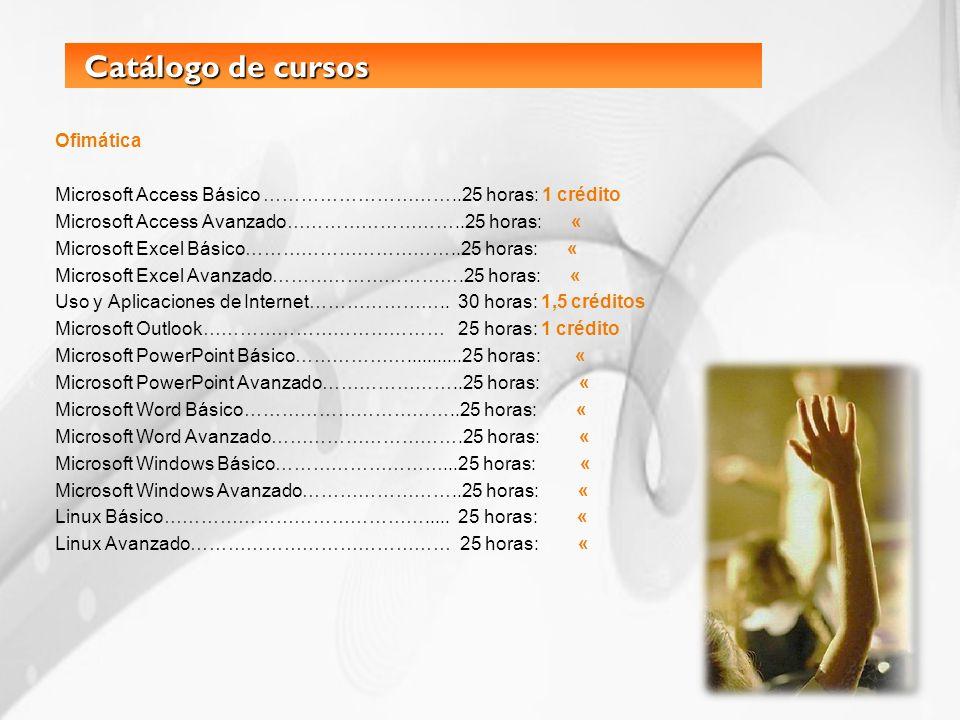 Catálogo de cursos Ofimática