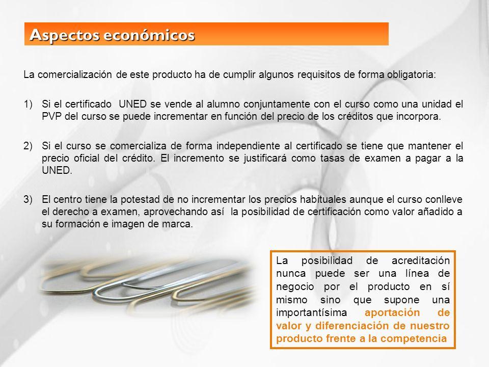 Aspectos económicos La comercialización de este producto ha de cumplir algunos requisitos de forma obligatoria: