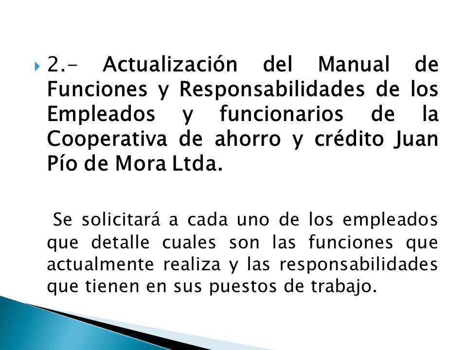 2.- Actualización del Manual de Funciones y Responsabilidades de los Empleados y funcionarios de la Cooperativa de ahorro y crédito Juan Pío de Mora Ltda.