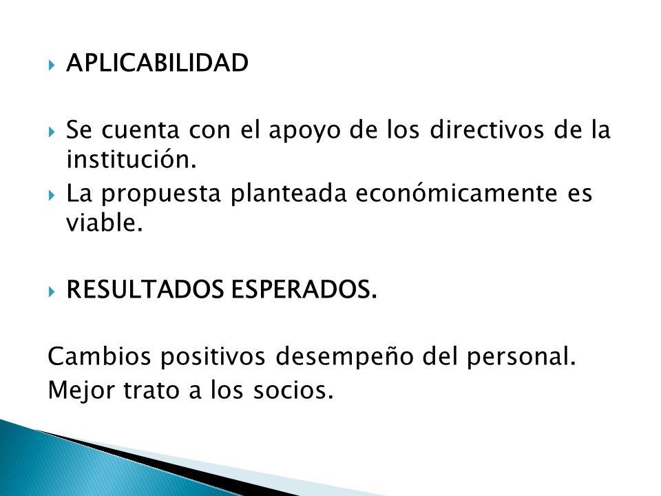 APLICABILIDAD Se cuenta con el apoyo de los directivos de la institución. La propuesta planteada económicamente es viable.