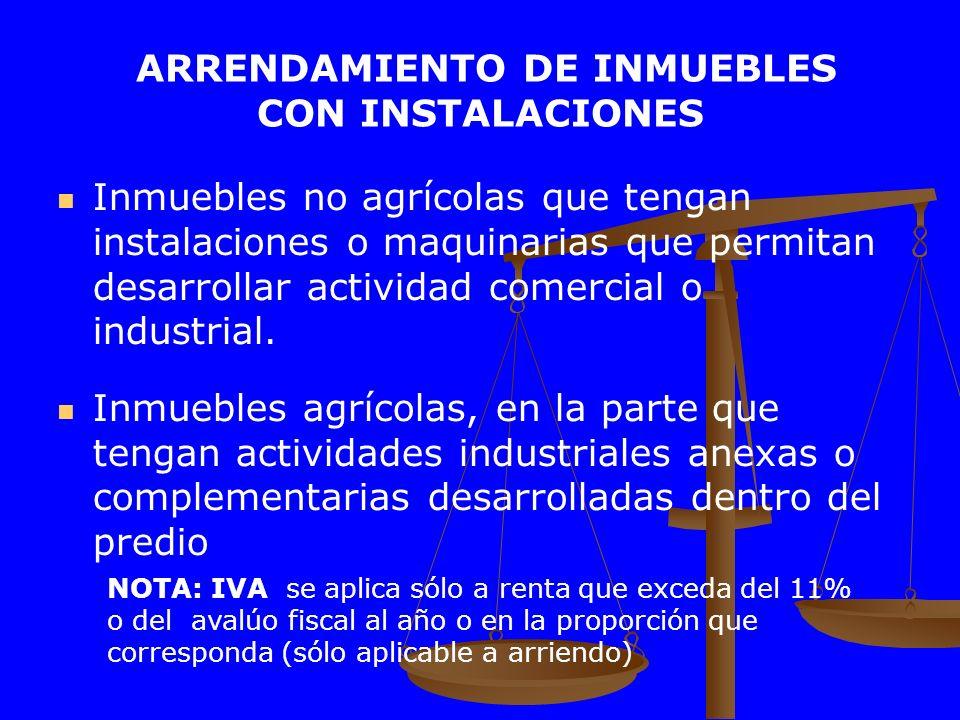 ARRENDAMIENTO DE INMUEBLES CON INSTALACIONES