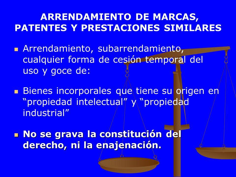 ARRENDAMIENTO DE MARCAS, PATENTES Y PRESTACIONES SIMILARES