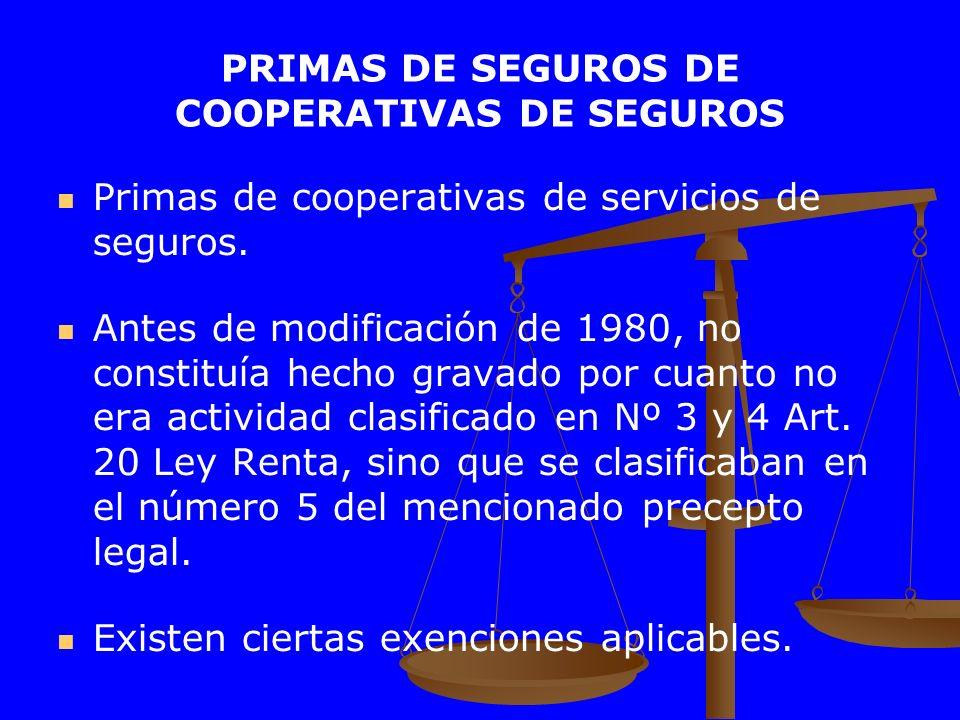 PRIMAS DE SEGUROS DE COOPERATIVAS DE SEGUROS
