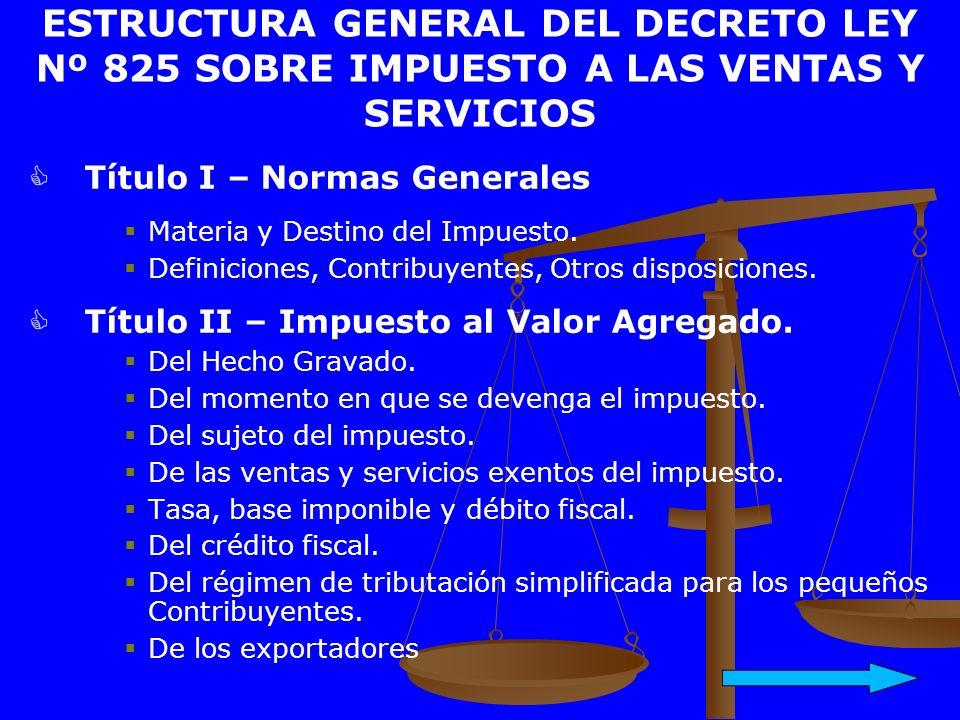 ESTRUCTURA GENERAL DEL DECRETO LEY Nº 825 SOBRE IMPUESTO A LAS VENTAS Y SERVICIOS