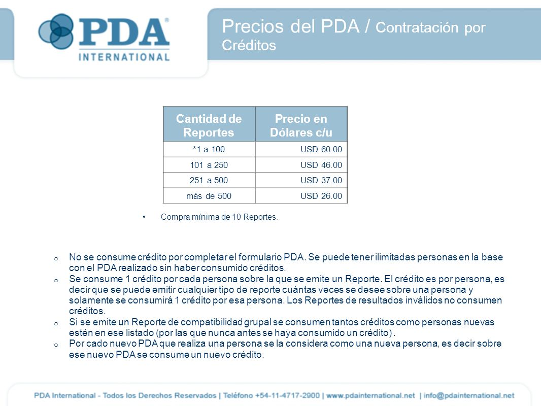 Precios del PDA / Contratación por Créditos