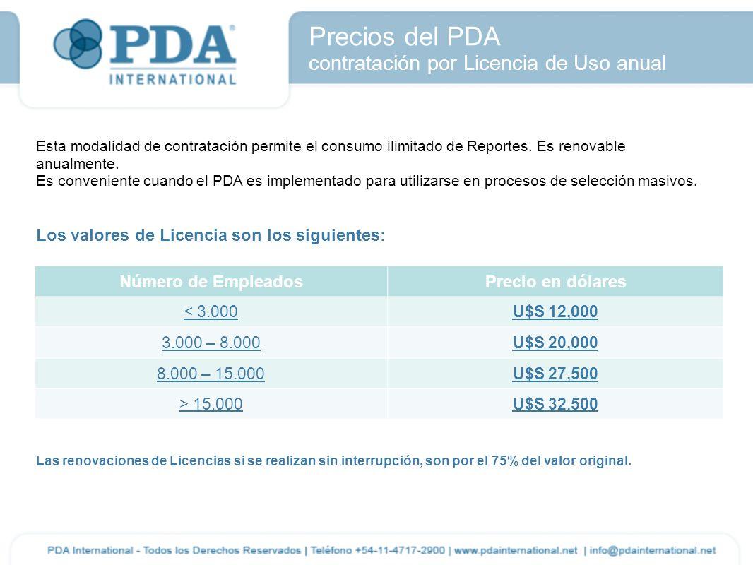Precios del PDA contratación por Licencia de Uso anual