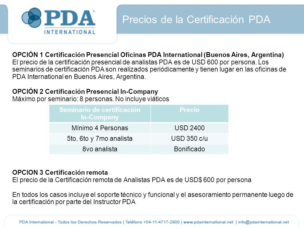 Precios de la Certificación PDA