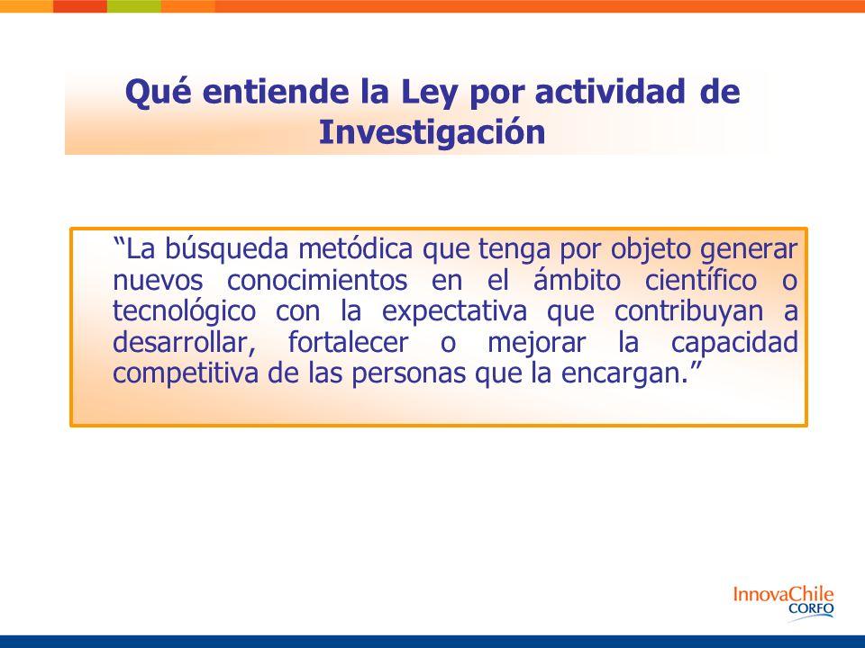 Qué entiende la Ley por actividad de Investigación