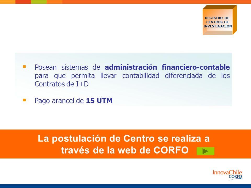 La postulación de Centro se realiza a través de la web de CORFO