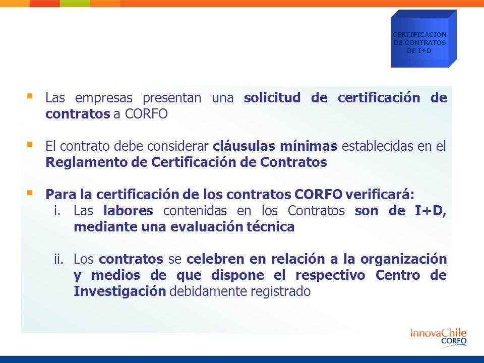 Para la certificación de los contratos CORFO verificará: