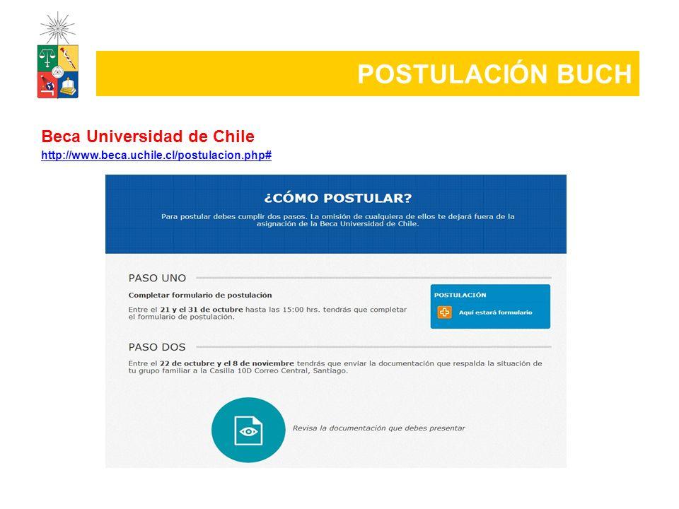 POSTULACIÓN BUCH Beca Universidad de Chile