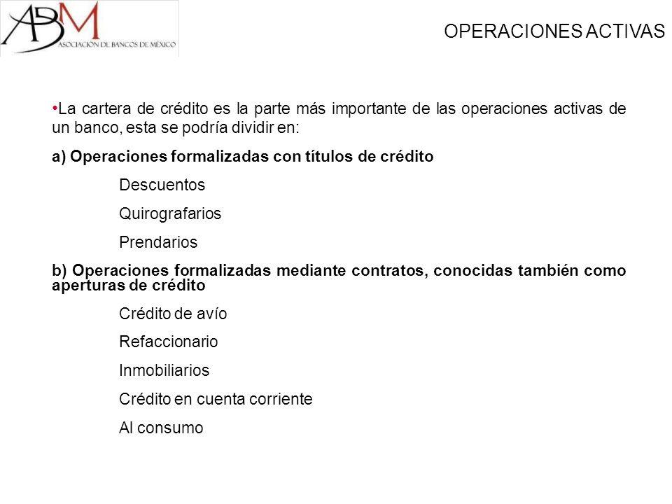 OPERACIONES ACTIVAS La cartera de crédito es la parte más importante de las operaciones activas de un banco, esta se podría dividir en: