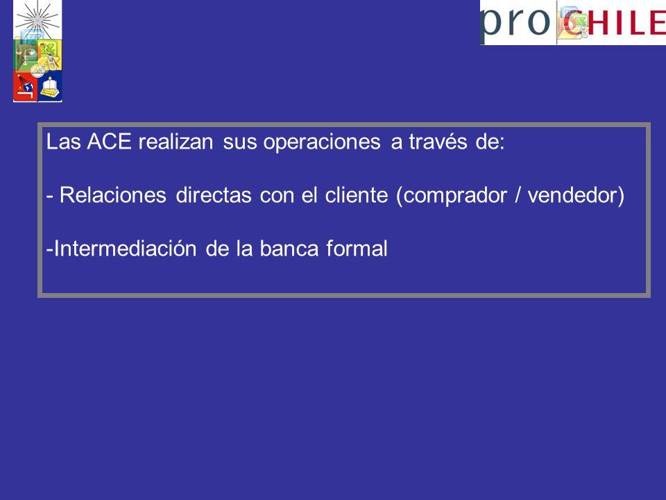 Las ACE realizan sus operaciones a través de: