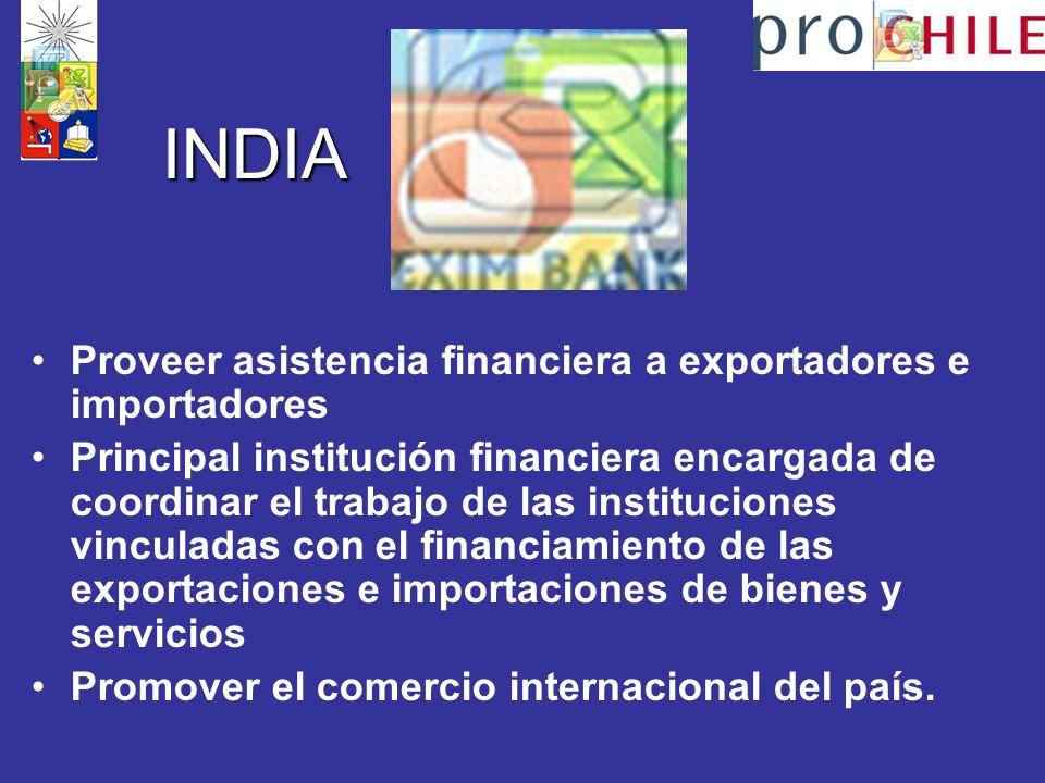 INDIA Proveer asistencia financiera a exportadores e importadores
