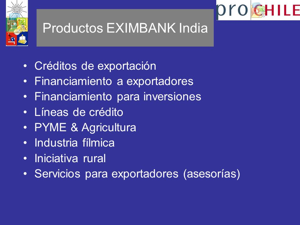 Productos EXIMBANK India