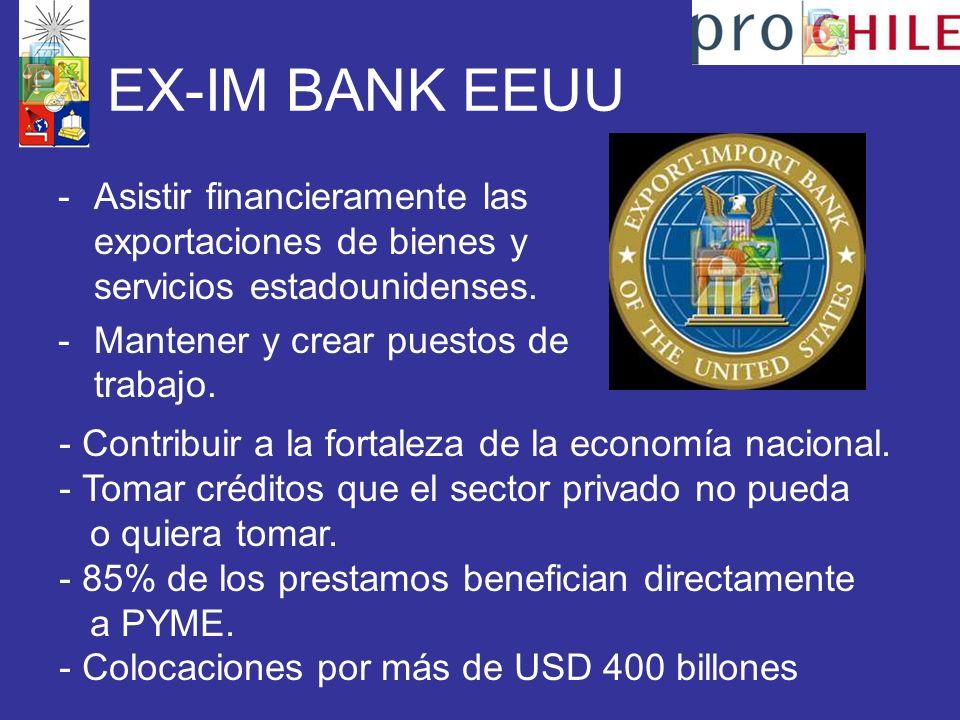 EX-IM BANK EEUU Asistir financieramente las exportaciones de bienes y servicios estadounidenses. Mantener y crear puestos de trabajo.