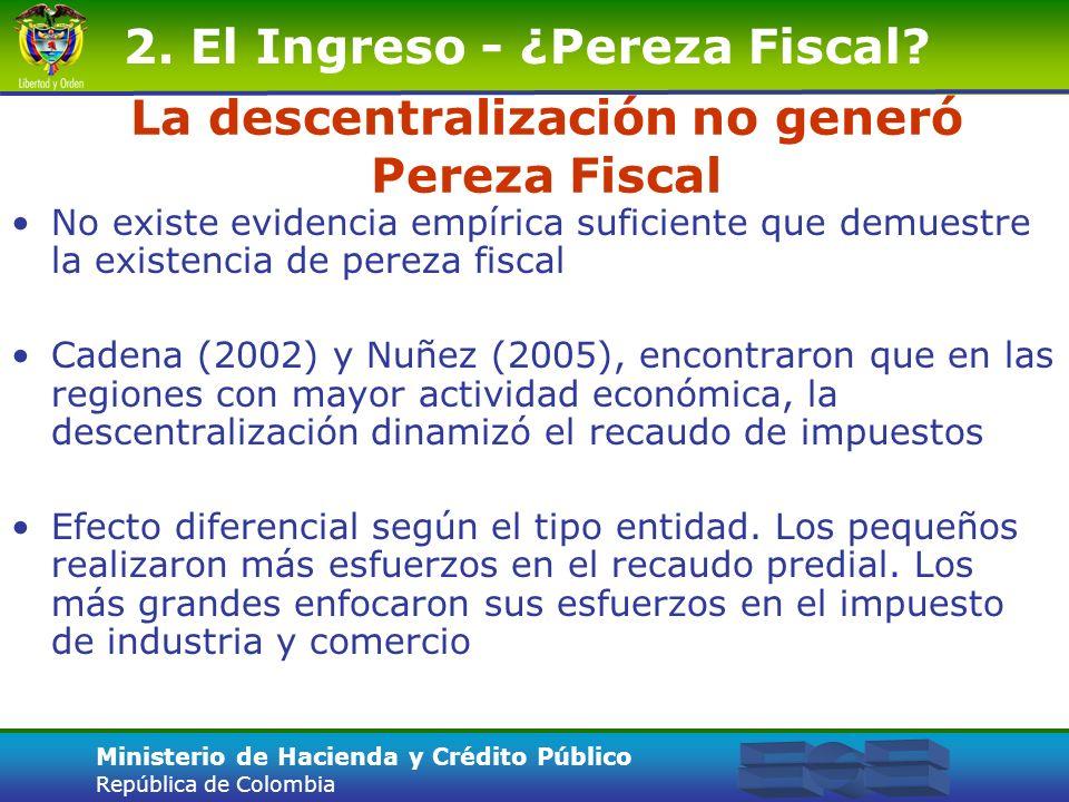 La descentralización no generó Pereza Fiscal