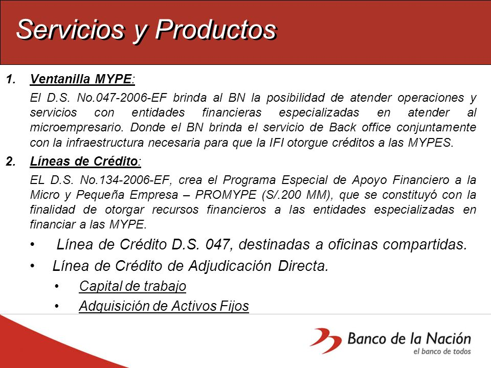 Servicios y Productos Ventanilla MYPE: