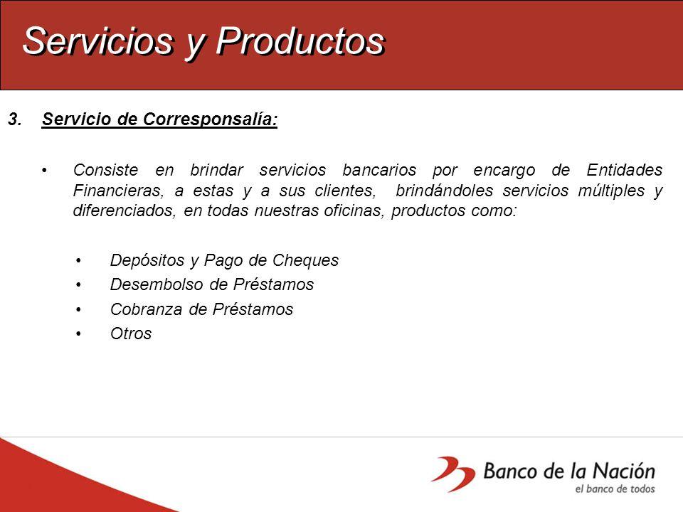 Servicios y Productos Servicio de Corresponsalía: