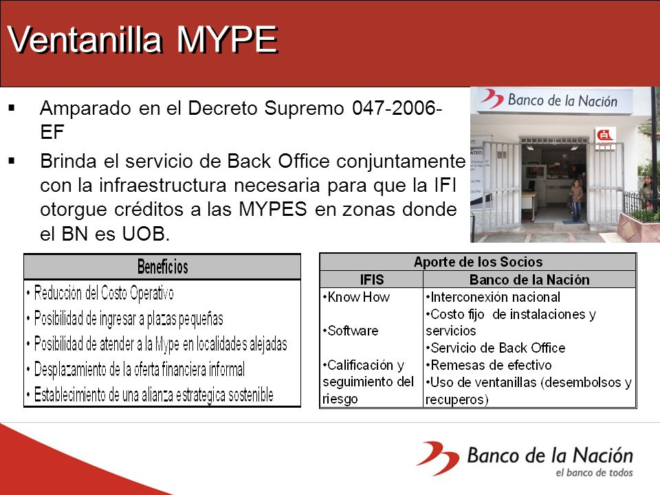 Ventanilla MYPE Amparado en el Decreto Supremo 047-2006-EF