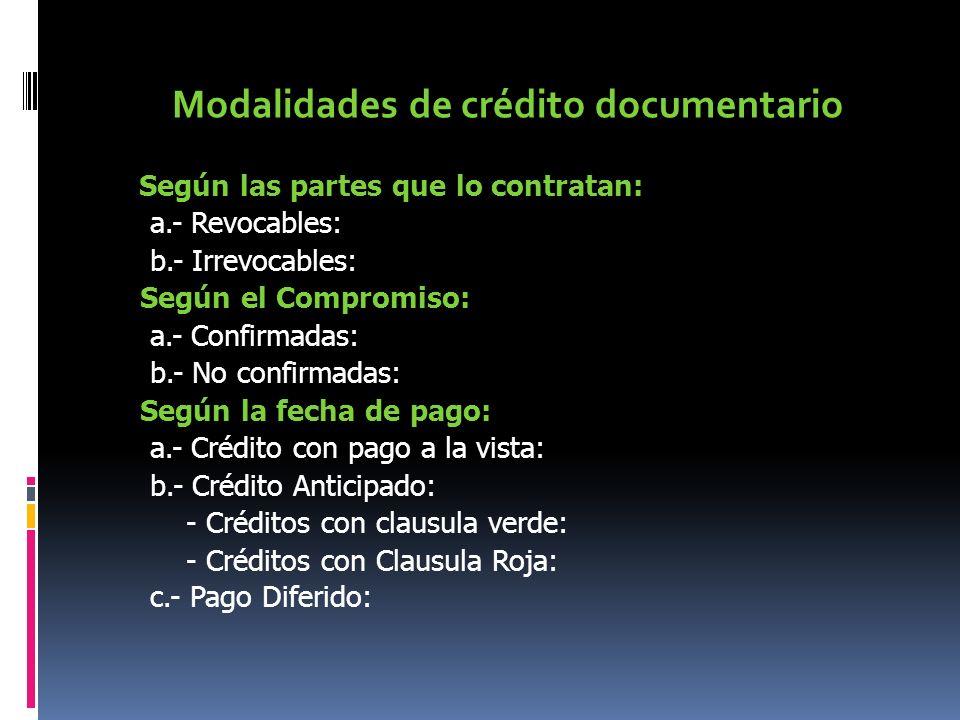 Modalidades de crédito documentario