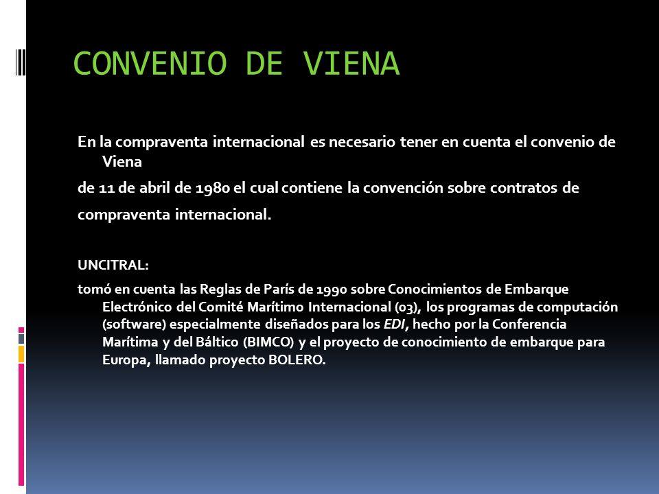 CONVENIO DE VIENA En la compraventa internacional es necesario tener en cuenta el convenio de Viena.
