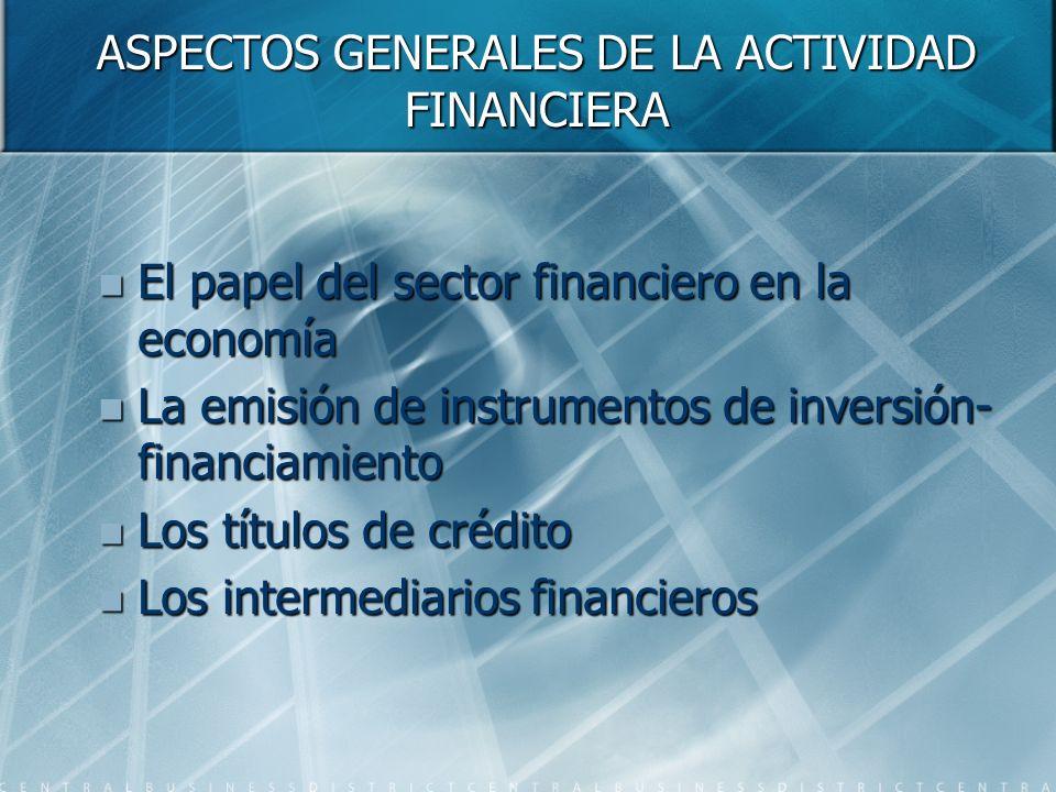 ASPECTOS GENERALES DE LA ACTIVIDAD FINANCIERA