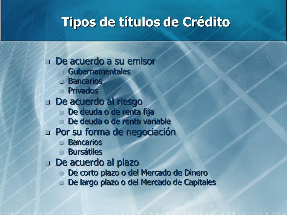 Tipos de títulos de Crédito