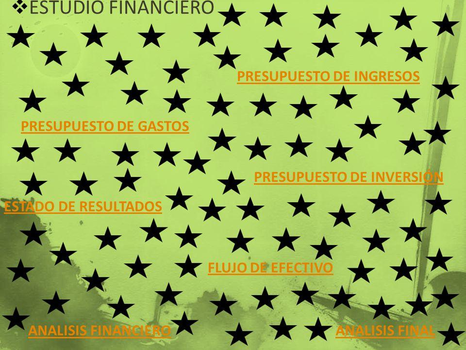 ESTUDIO FINANCIERO PRESUPUESTO DE INGRESOS PRESUPUESTO DE GASTOS