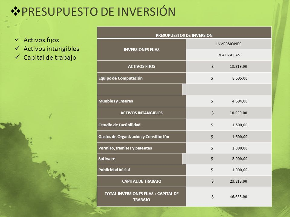 PRESUPUESTOS DE INVERSION TOTAL INVERSIONES FIJAS + CAPITAL DE TRABAJO