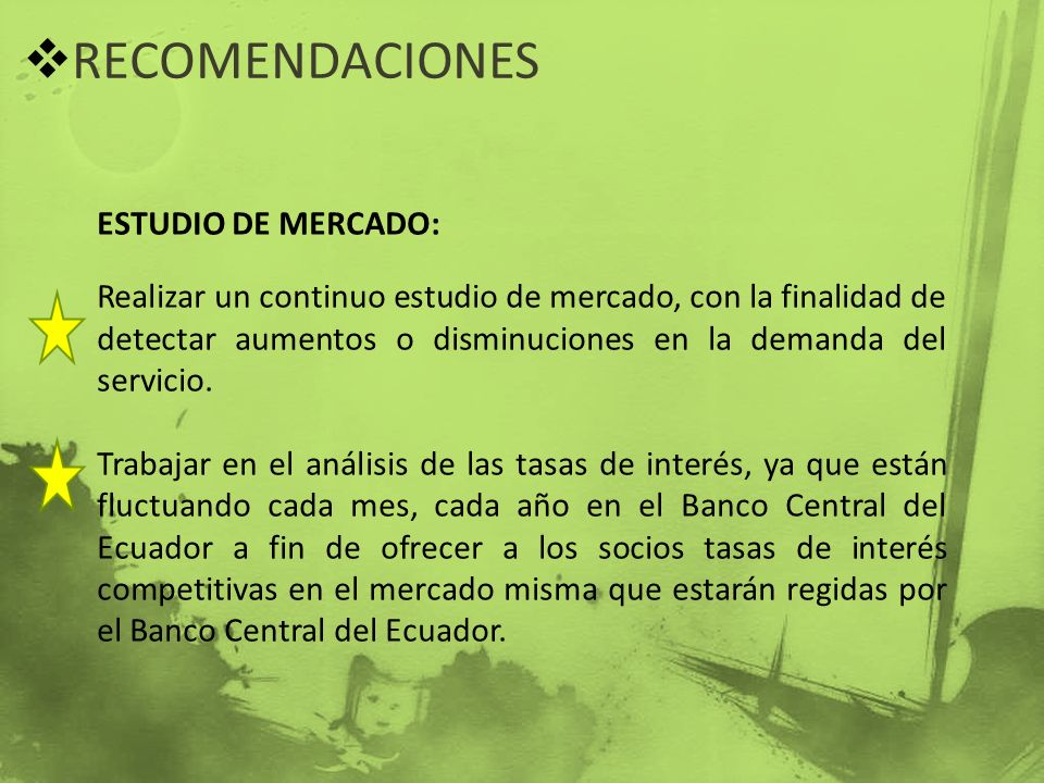 RECOMENDACIONES ESTUDIO DE MERCADO: