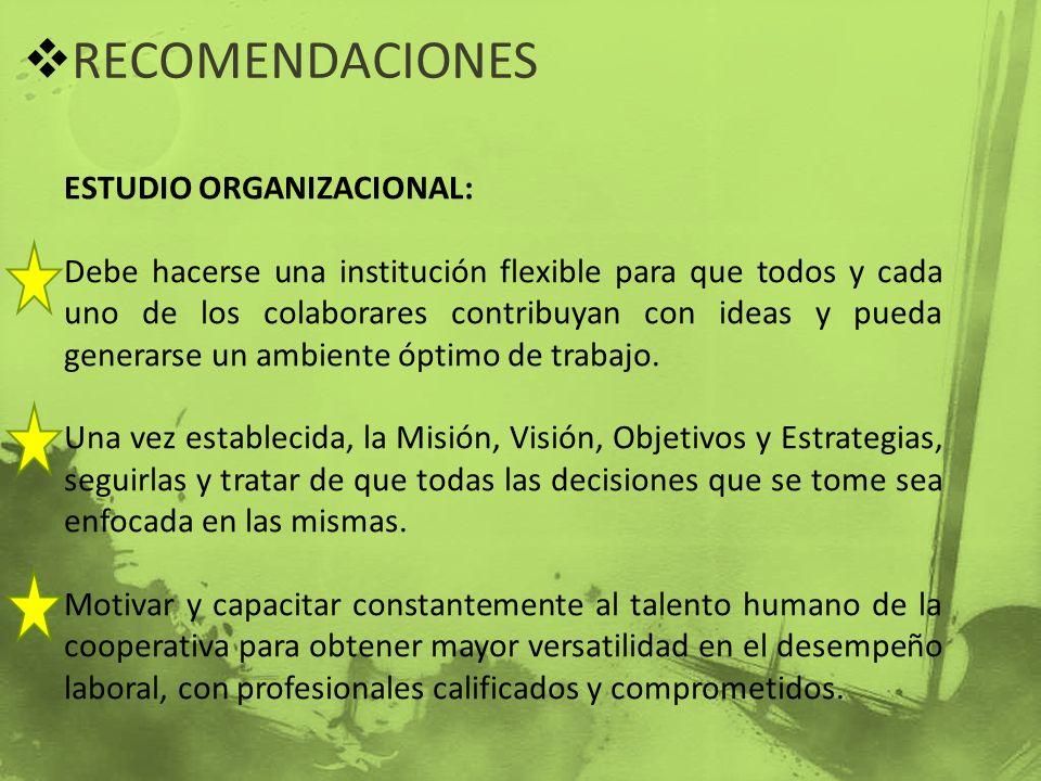 RECOMENDACIONES ESTUDIO ORGANIZACIONAL: