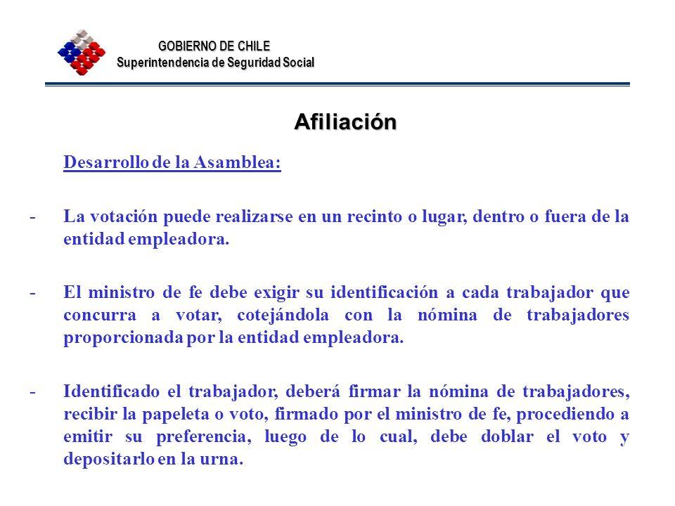 Afiliación Desarrollo de la Asamblea: