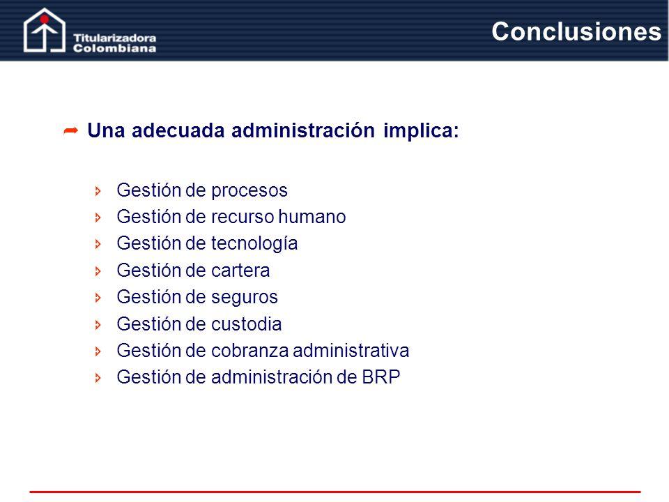 Conclusiones Una adecuada administración implica: Gestión de procesos