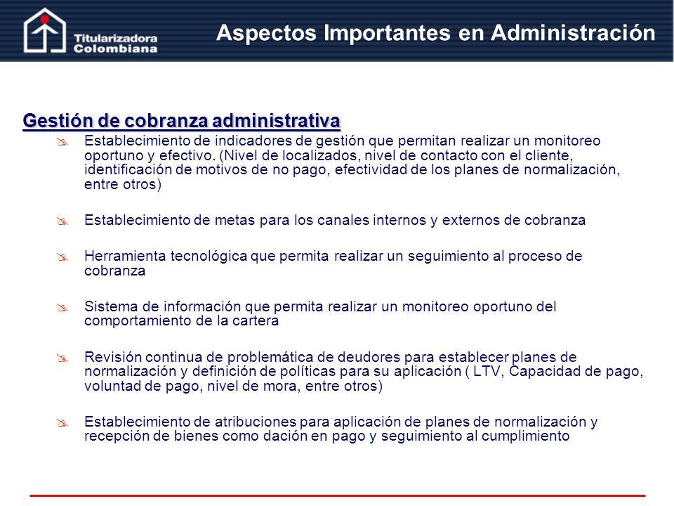 Aspectos Importantes en Administración