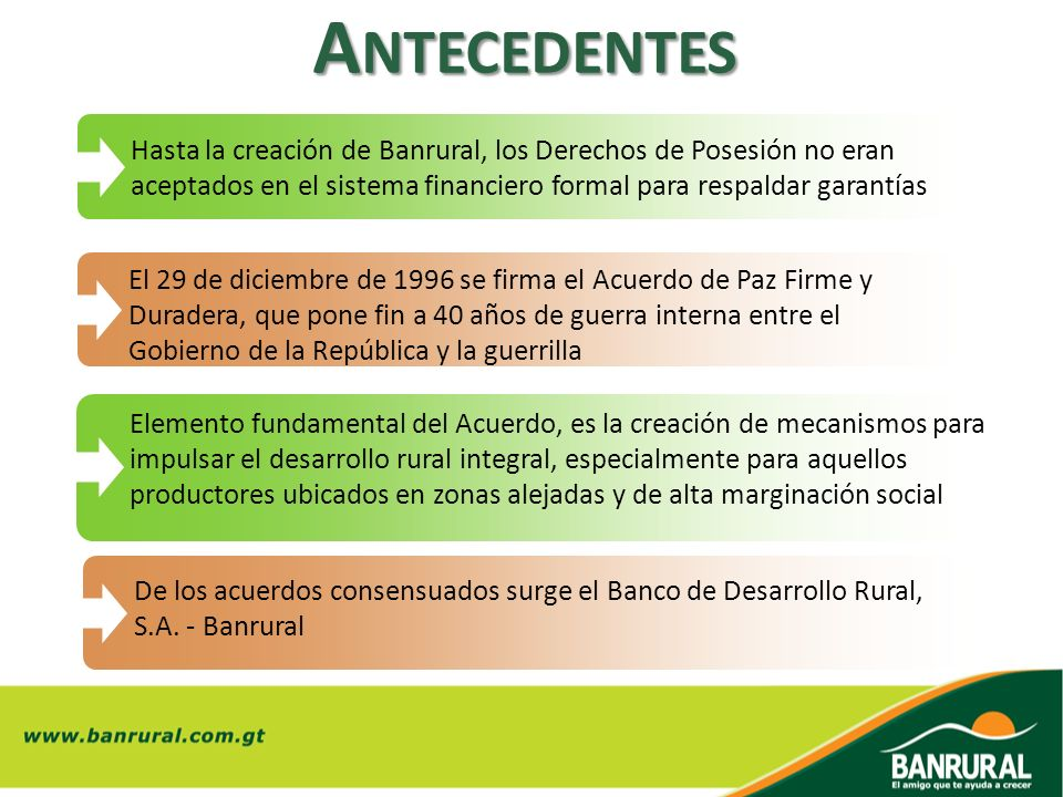 Antecedentes Hasta la creación de Banrural, los Derechos de Posesión no eran aceptados en el sistema financiero formal para respaldar garantías.