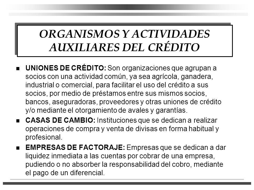 ORGANISMOS Y ACTIVIDADES AUXILIARES DEL CRÉDITO