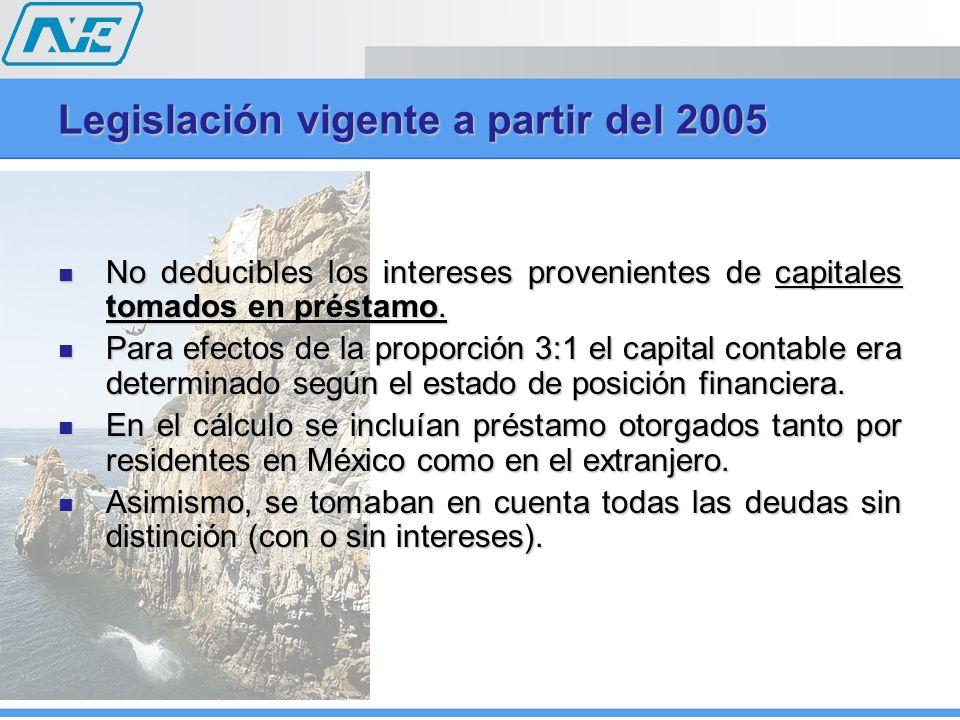 Legislación vigente a partir del 2005