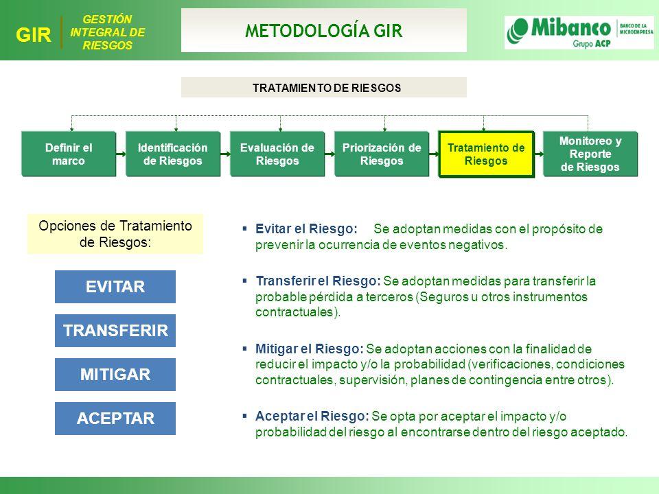 METODOLOGÍA GIR EVITAR TRANSFERIR MITIGAR ACEPTAR