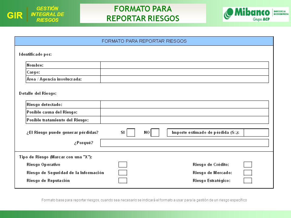 FORMATO PARA REPORTAR RIESGOS