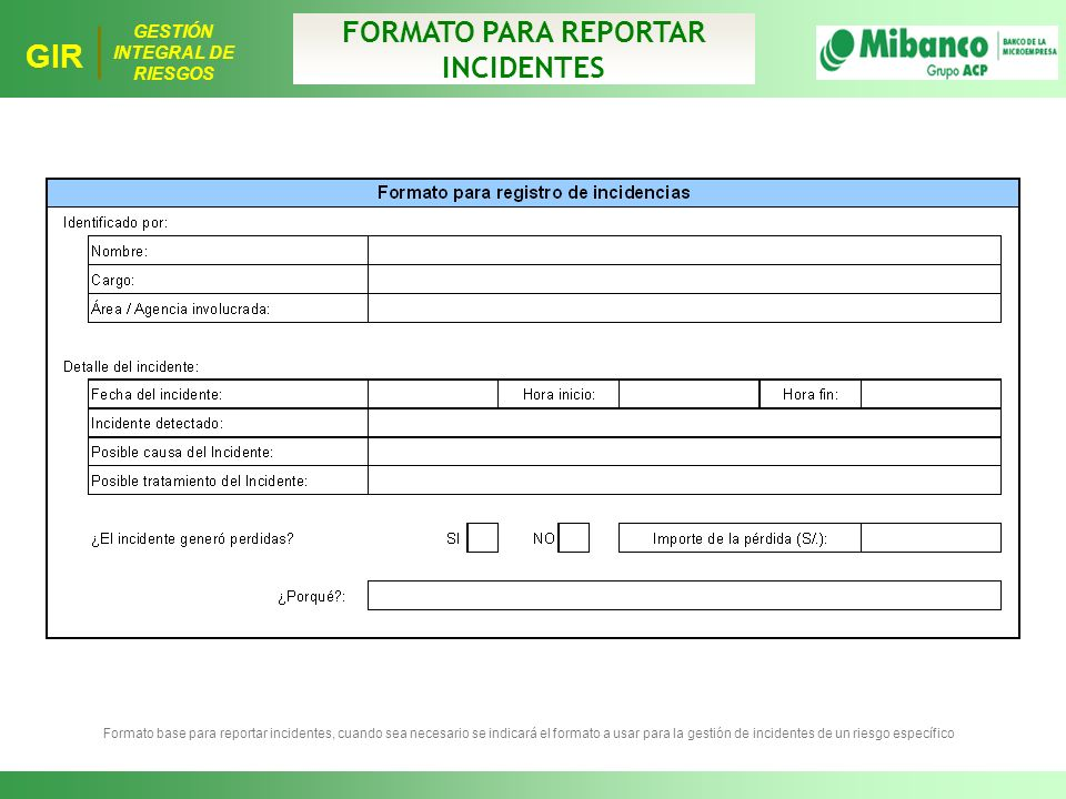 FORMATO PARA REPORTAR INCIDENTES