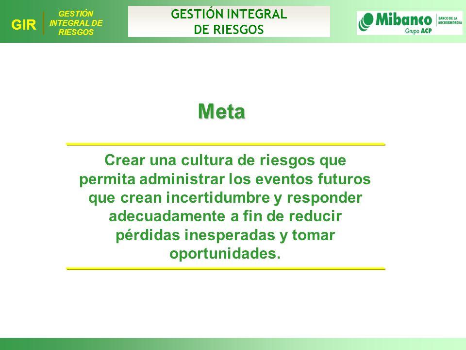 GESTIÓN INTEGRAL DE RIESGOS. Meta.
